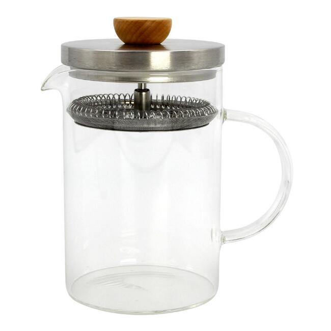 Glass and Beechwood Loose Leaf Tea Press
