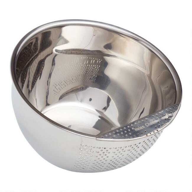 Stainless Steel Rice Washing Bowl with Strainer
