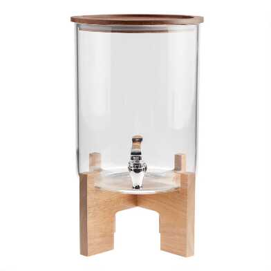 Glass and Acacia Wood Drink Dispenser with Stand