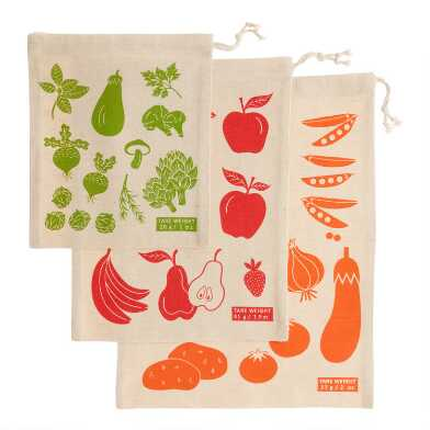 Organic Cotton Produce Bags 3 Pack