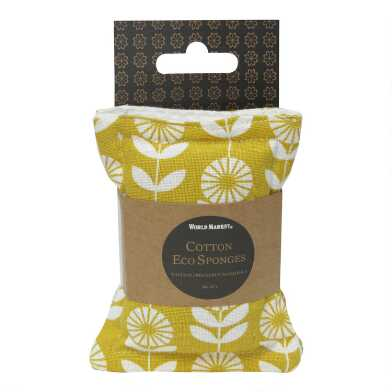 Yellow Organic Cotton and Coir Sponges 2 Pack