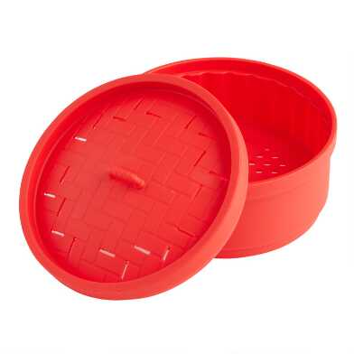 Red Chinese Style Silicone Steamer