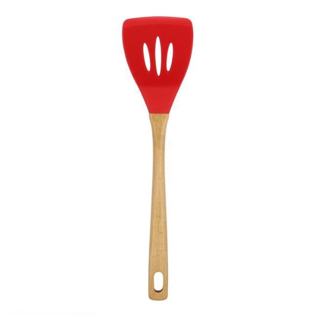Red Silicone and Bamboo Slotted Turner