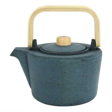 Dark Turquoise Cast Iron and Wood Infuser Teapot