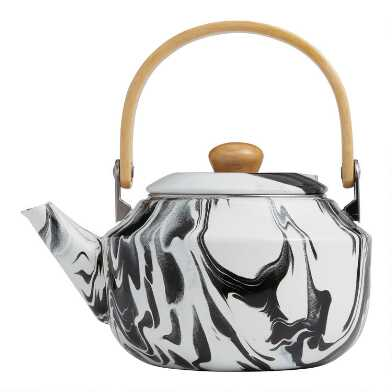 Black and White Marbled Enamel Tea Kettle