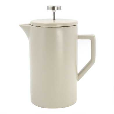 Stone Gray Ceramic and Brushed Silver French Press