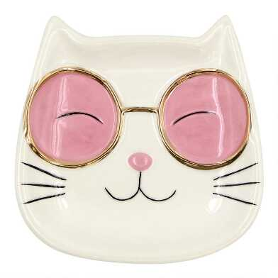 White Cat With Sunnies Ceramic Tea Rest Set of 2