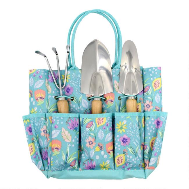 Teal Posey Fields Gardening Tote with Tools 5 Piece Set