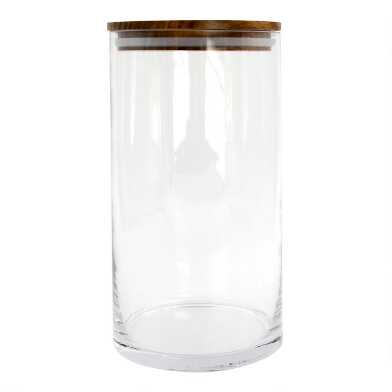 Large Glass Storage Canister with Acacia Wood Lid