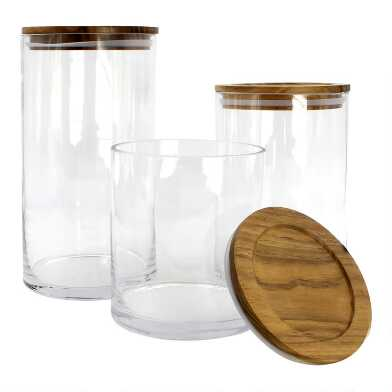 Glass Storage Canister with Acacia Wood Lid Collection