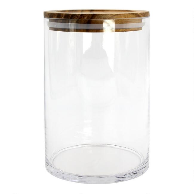 Medium Glass Storage Canister with Acacia Wood Lid