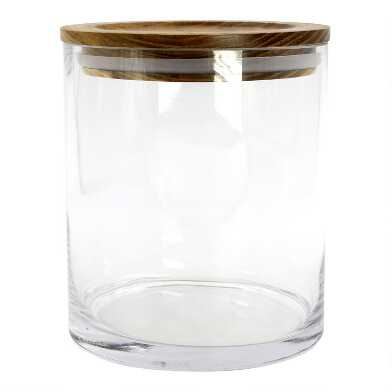 Small Glass Storage Canister with Acacia Wood Lid