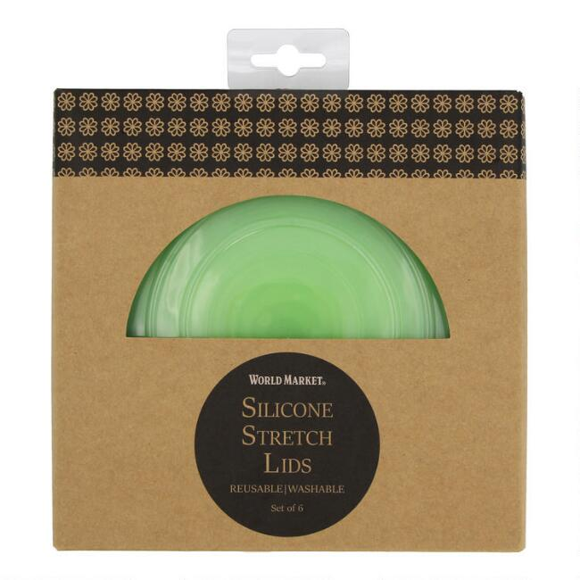 Green Stretch Silicone Food Storage Lids 6 Pack