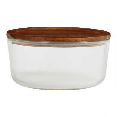 Extra Large Glass Food Storage Container with Wood Lid
