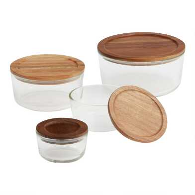 Glass Food Storage Container with Wood Lid Collection