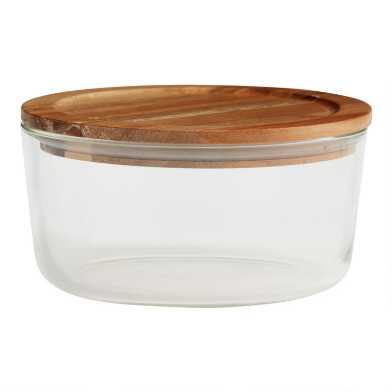 Large Glass Food Storage Container with Wood Lid