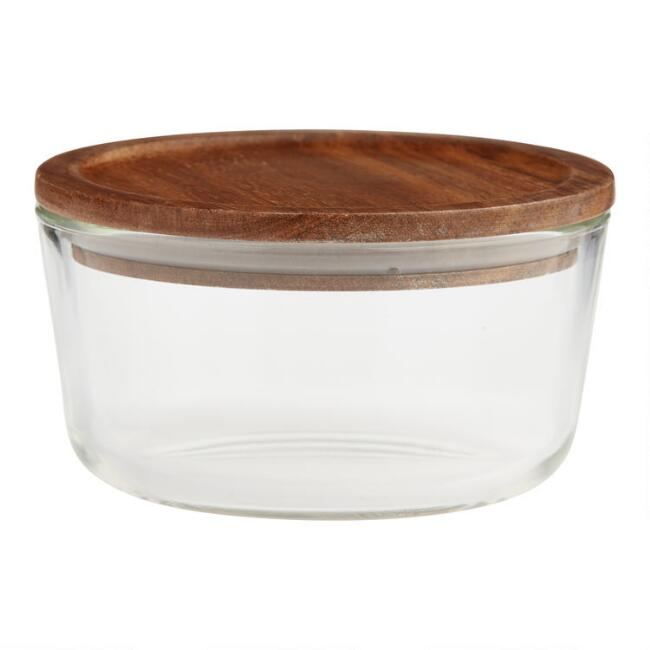 Medium Glass Food Storage Container with Wood Lid