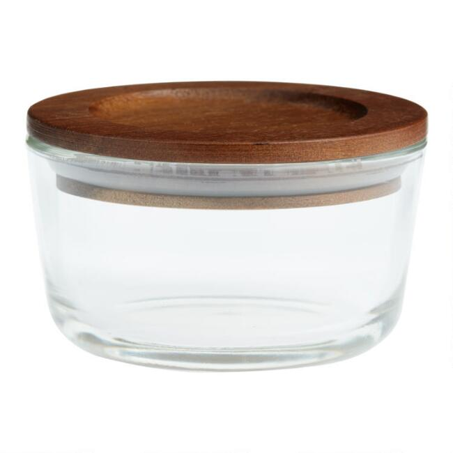 Small Glass Food Storage Container with Wood Lid