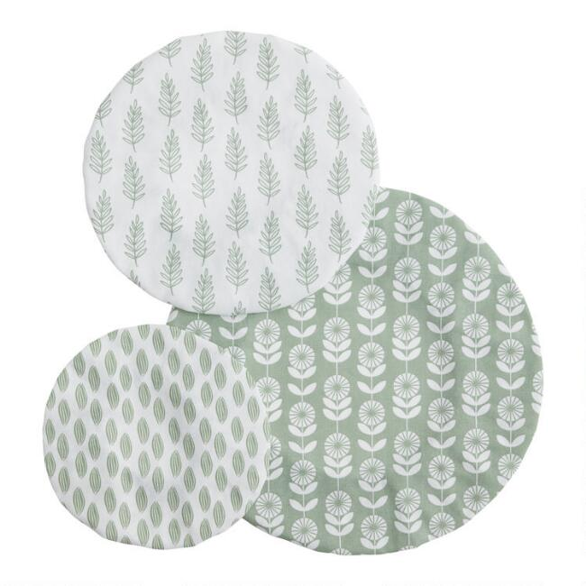 Sage Green Organic Cotton Bowl Covers 3 Pack