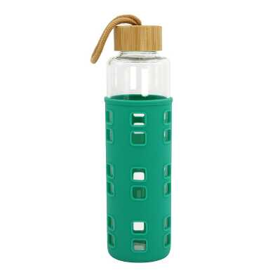 Emerald Silicone and Glass Water Bottle with Bamboo Lid
