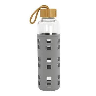 Gray Silicone and Glass Water Bottle with Bamboo Lid