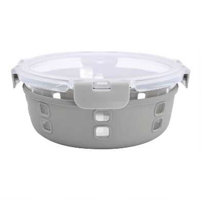 Gray Silicone and Glass Salad Bowl with Lid