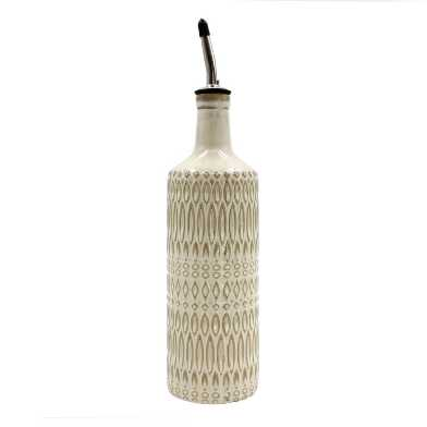 Natural Textured Ceramic Oil Bottle with Spout