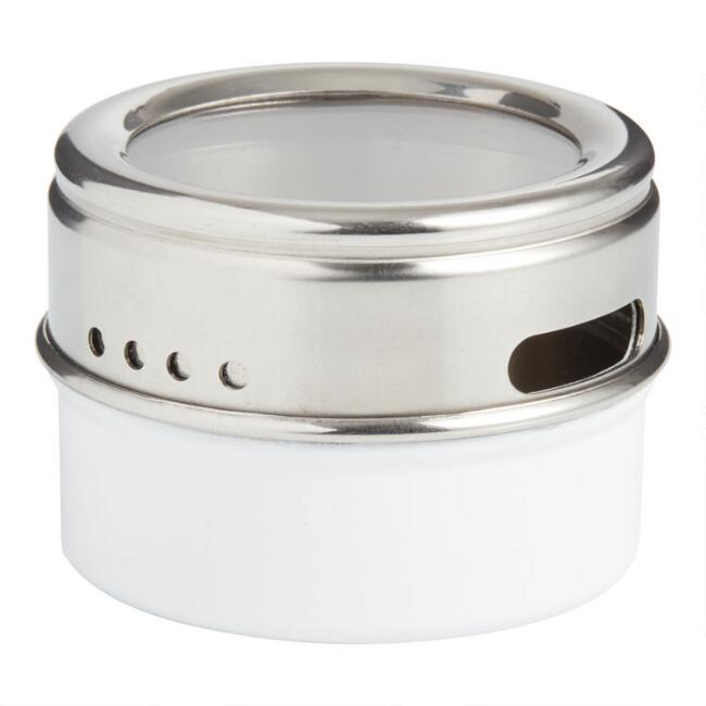 White Metal Spice Tin with Sift and Pour Lid Set of 2