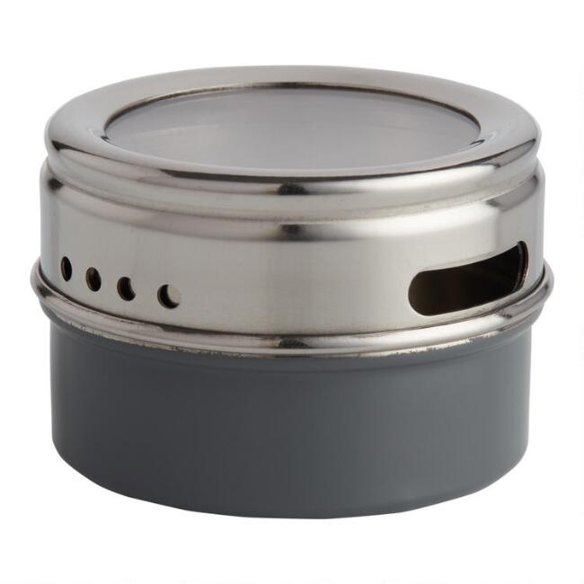 Gray Metal Spice Tin with Sift and Pour Lid Set of 2
