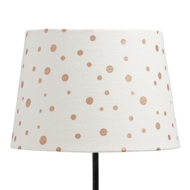 White and Gold Dots Cotton Accent Lamp Shade