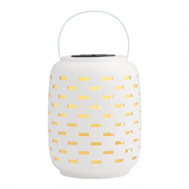 White Dashes Ceramic Solar LED Lantern