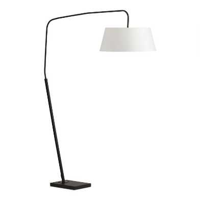 Black Marble and Metal Henry Arc Floor Lamp