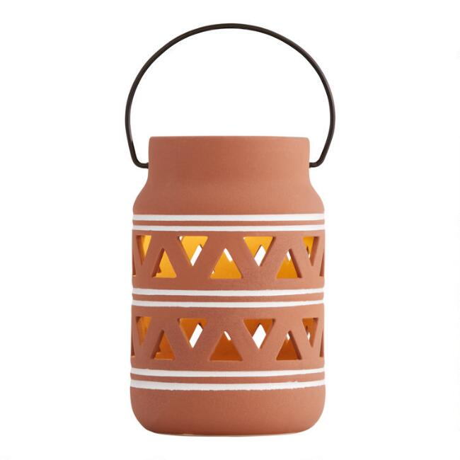 Rust and White Stripes Ceramic Solar LED Lantern