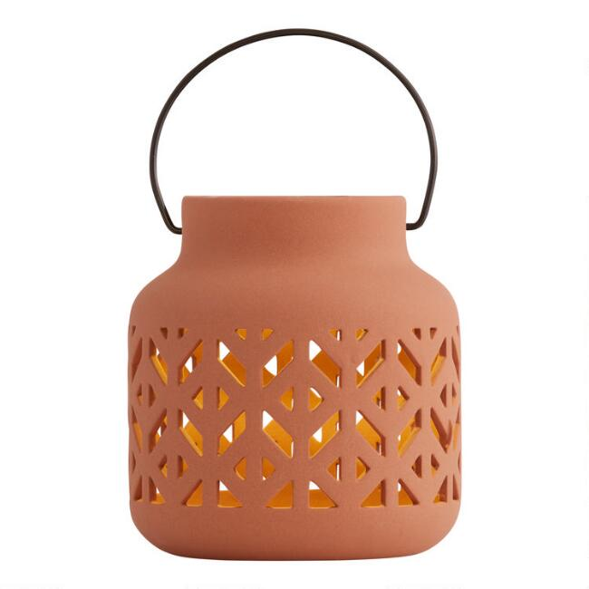 Rust Geometric Ceramic Solar LED Lantern