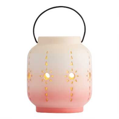 Red Orange Ombre Sun Ceramic Solar LED Lantern