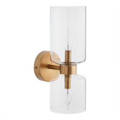 Glass and Antique Brass 2 Light Gianna Wall Sconce