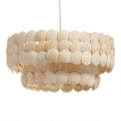 White Coconut Shell Two Tier Alana Pendant Lamp