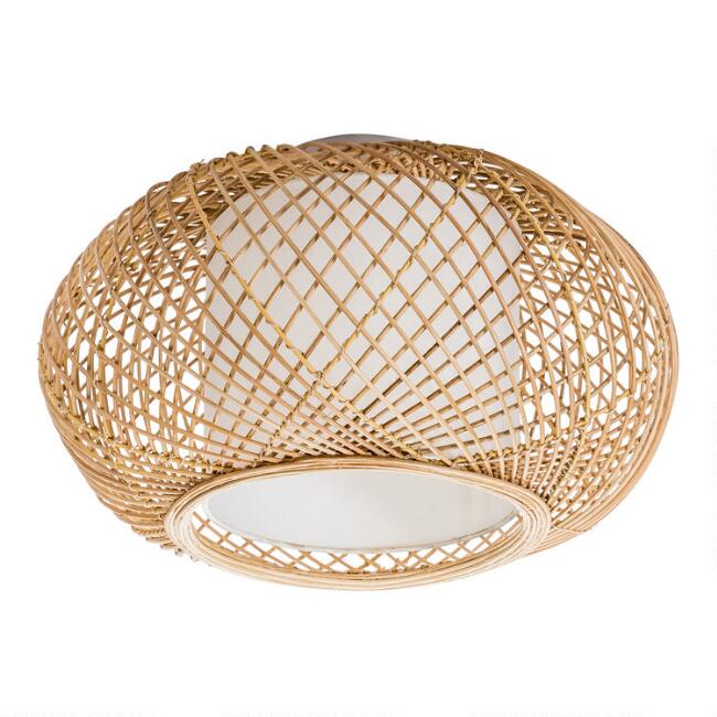 Natural Wicker and Jute Reyna Flush Mount Ceiling Light