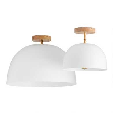 White Metal Dome Adjustable Semi Flush Mount Ceiling Light