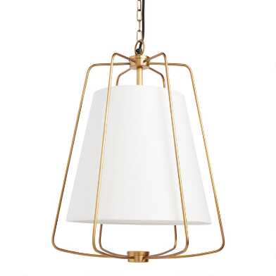 White Fabric and Antique Brass Cage Parker Pendant Lamp