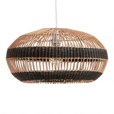 Black and Natural Striped Rattan Simone Pendant Shade
