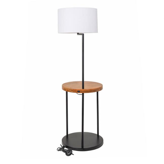 Wood and Black Metal Floor Lamp with Table