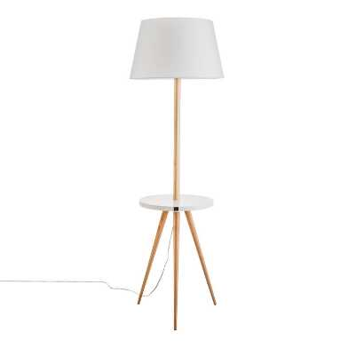 White and Natural Wood Tripod Floor Lamp With Table