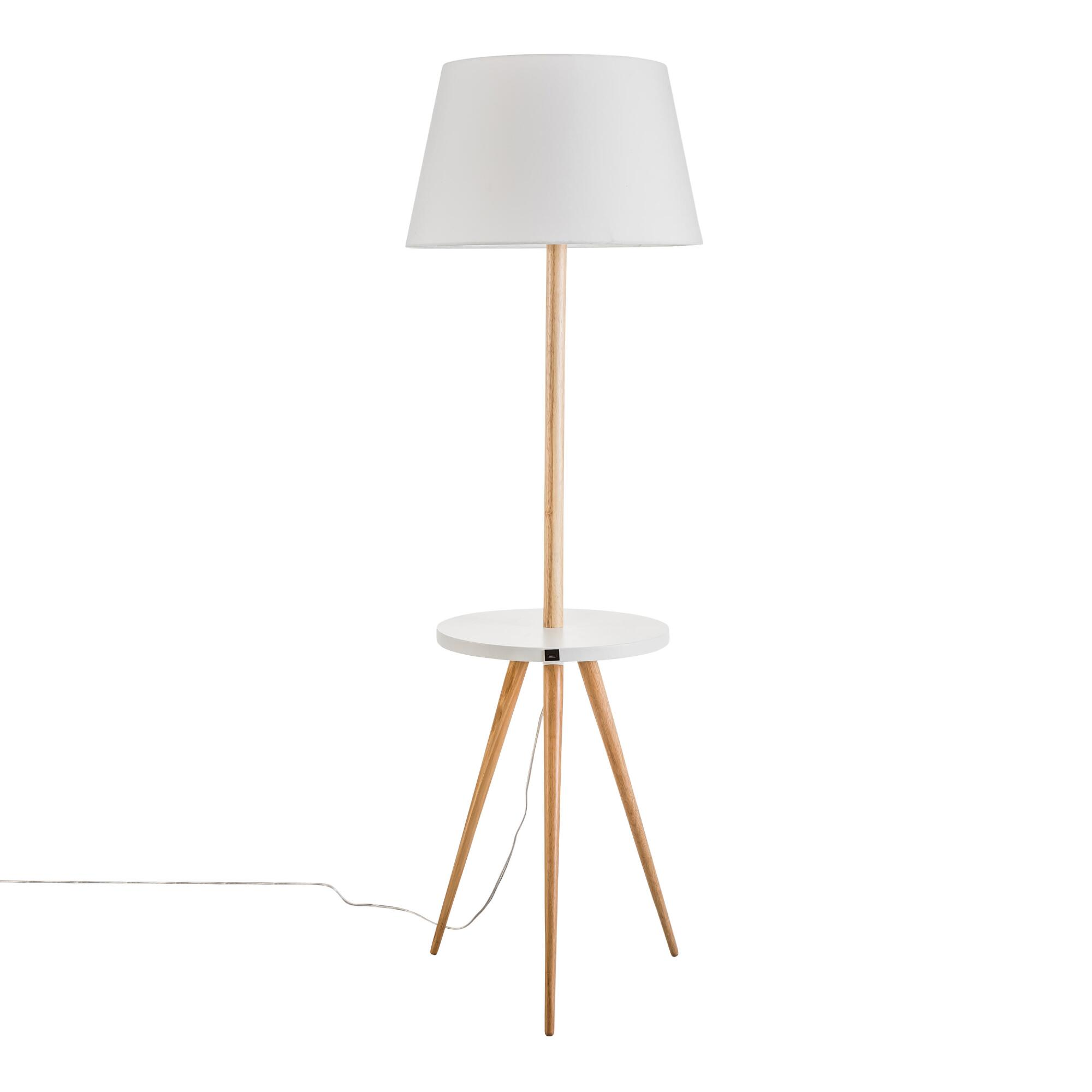 White and Natural Wood Tripod Floor Lamp With Table by World Market