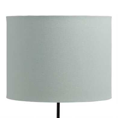 Sage Linen Drum Table Lamp Shade with Gold Lining