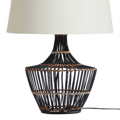 Black and Natural Wicker Elisa Table Lamp Base