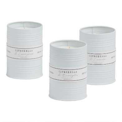 White Metal Tin Scented Citronella Candles Set of 3