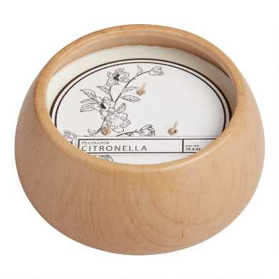 Faux Wood 3 Wick Citronella Candle