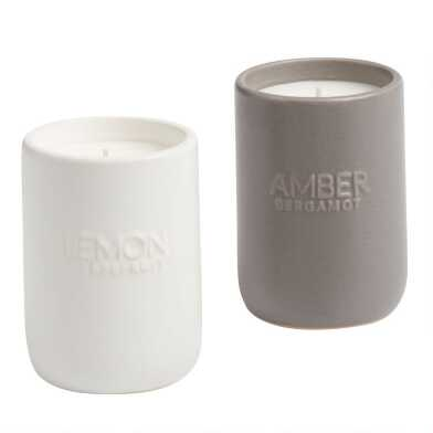 Embossed Ceramic Filled Jar Candle