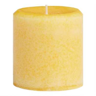 3x3 Limoncello Mottled Pillar Candle